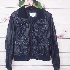 Xhilaration | Black Moto Vegan Leather Jacket L